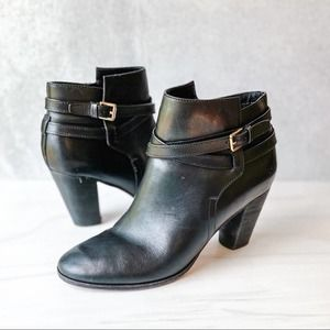 COLE HAAN Black Leather Buckle Ankle Booties Size 8.5